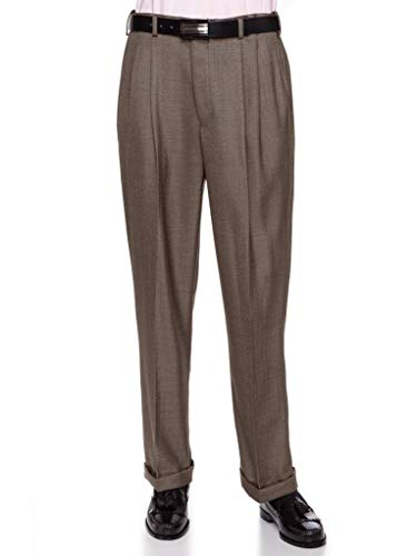 Mens Comfort Stretch Wool Dress - Giovanni Uomo Mens Pleated Front Dress Pants with Hidden Expandable Waist Taupe-46 Short