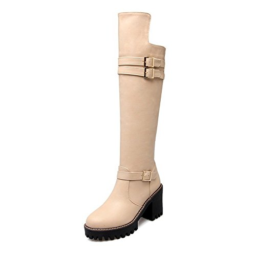 AllhqFashion Womens Round Closed Toe Mid Top High Heels Solid PU Boots, Apricot, 39