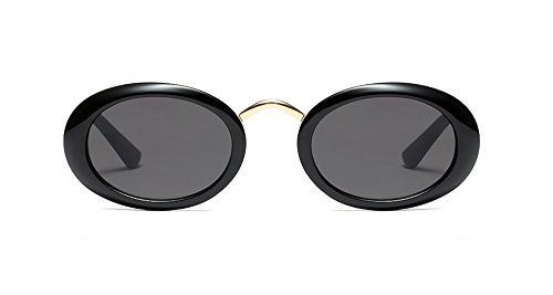 Kurt Cobain Inspired Oval Sunglasses Clout Goggles Rapper Vintage Retro Glasses (Black, - Shaped Glasses Oval