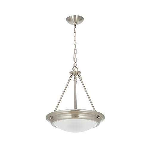 Ravenna Home Classic Integrated LED Light Pendant, Bulbs Included, 17.75 Inch Height, Brushed Nickel (Indoor Light Hanging Fixtures)