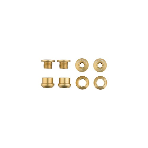 (Wolf Tooth Components 1x 6mm Chainring Bolt: Gold Set of 4 Dual Hex Fittings)