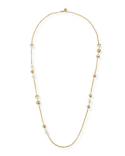 Tory Burch Women's Capped Pearl Crystal Chain Necklace ()