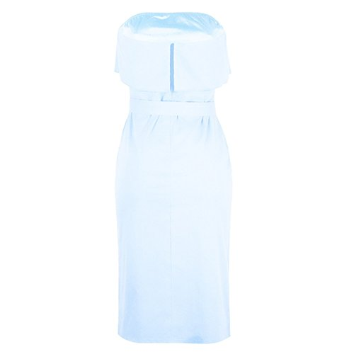 Frill Shoulder for Linaking Strap Lady Blue Waist High Off Leaf Lotus Button Bandage Dress Hipsters Dress w4a7qa1t