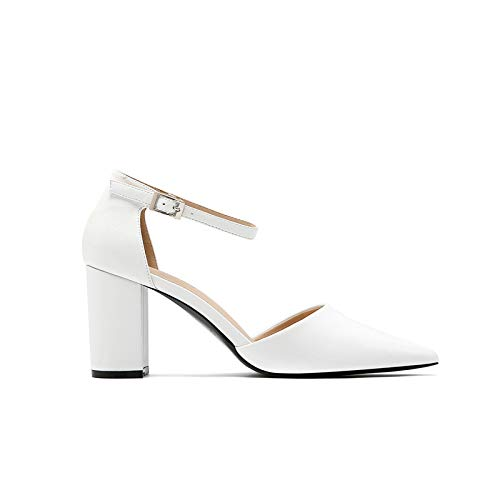alti Heels Thick Pointed Shoes Nudo Autumn Con Girl Buckle Colore Female Buckle White Wild Yukun Tacchi Single High 5UAqWwI