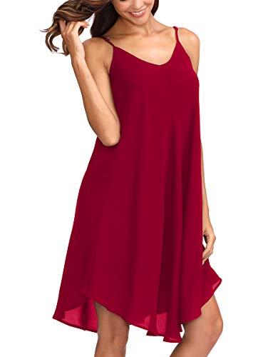 (Romwe Women's Adjustable Strap Summer Beach Sleeveless Casual Loose Swing Dress Burgundy L)