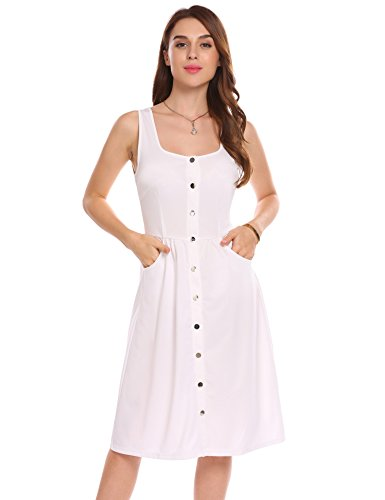 Square Neckline Dress - ELESOL Women Casual Square Collar Sleeveless Pocket Button A-Line Dress