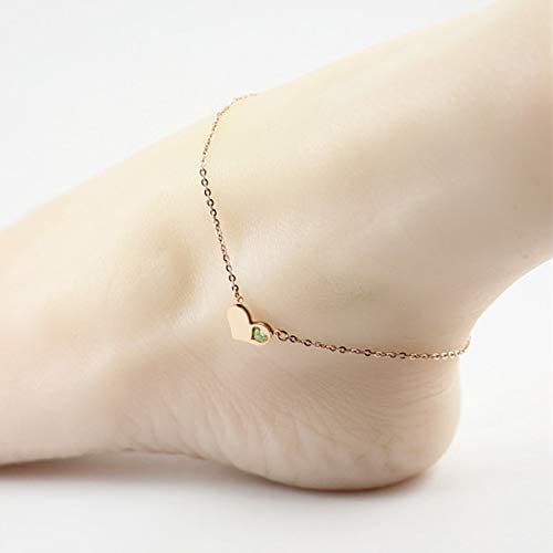 Red Diamond Fashion 14K Rose Gold Heart Foot Chain Anklet Ankle Bracelet Jewelry Simple Light Green Drill Long Women Girls Choi Jin Fashion Boutique
