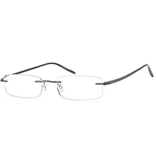 AV Minimalist Rimless Reading Glasses for Men and Women in Stainless Steel and TR90 Temple Arms for Maximum Comfort and Lightweight Fit +1.25 Magnification - Rimless Flexible Glasses