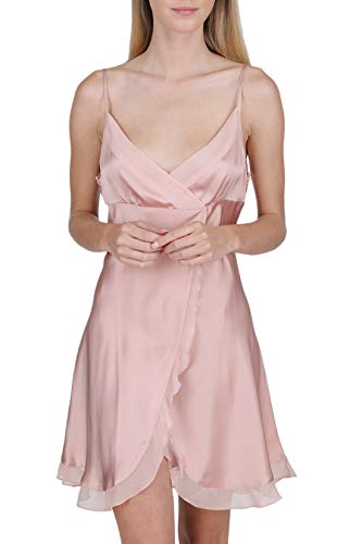 OSCAR ROSSA Women's Luxury Silk Sleepwear Babydoll Lingerie Nightgown 100% Silk Slip Chemise with Sexy Front Slit