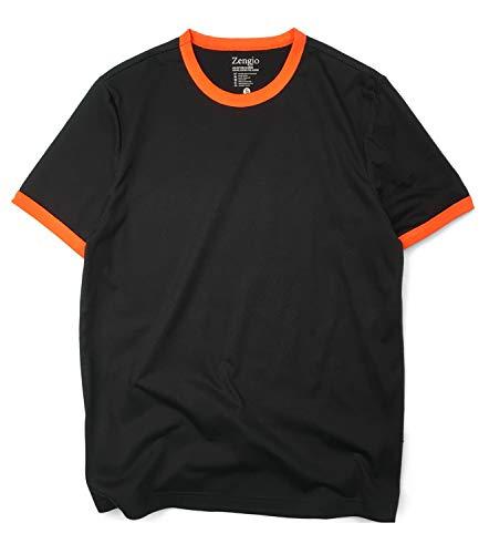 Zengjo Men's Black Ringer Tee Poly Cotton Sports T Shirt Short Sleeve (XL, Black/Orange) ()
