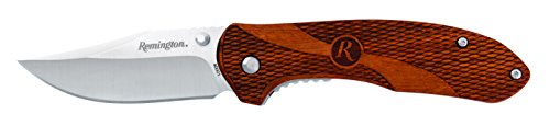 (Remington Cutlery R400001 Heritage Series Liner Lock Large Wood Handle Folding Knife with Pocket Clip, Brown Wood)