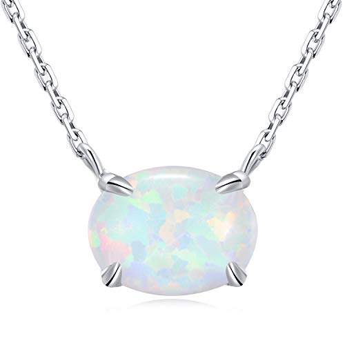 (Ellena Rose Sterling Silver Opal Necklace, 925 Sterling Silver & 14K White Gold Plating, October Birthstone Necklace, Small Oval Opal Jewelry For Women, Gemstone Necklace, Simple Necklace (White)