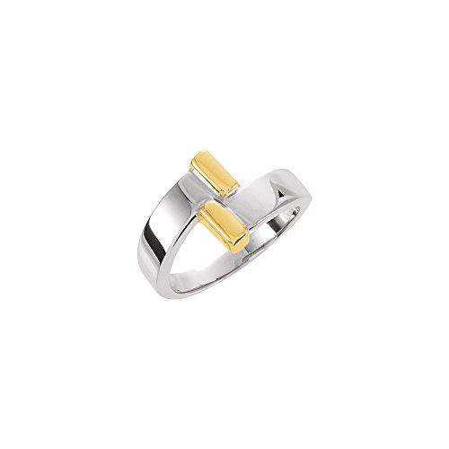 14K Two-Tone Gold Bypass Fashion Desgin Ring ()