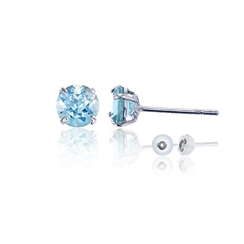 14k Genuine Aquamarine Earrings - 14K White Gold 4mm Round Aquamarine Stud Earring