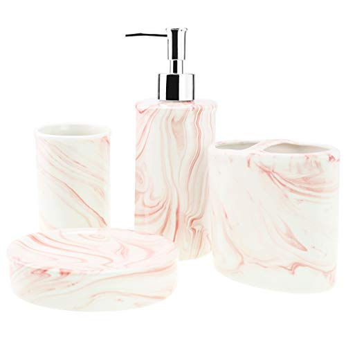 4-Piece Ceramic Bathroom Accessories Set, Complete Marble Style Bathroom Ensemble Sets for Bath Decor Includes Soap Dispenser Pump, Toothbrush Holder, Tumbler, Soap Dish, Ideas Home Gift (Pink)