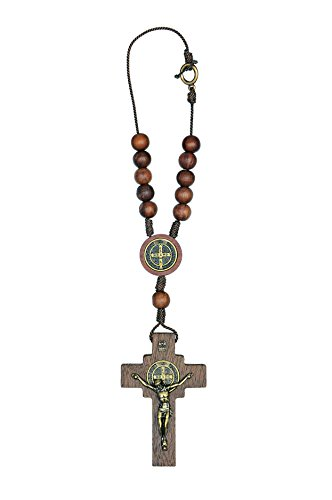 IntercessionTM Car Rearview Mirror Rosary Decade Crucifix Ornament - Made in Brazil (St Benedict One Decade - Antique Gold - 10mm Beads)