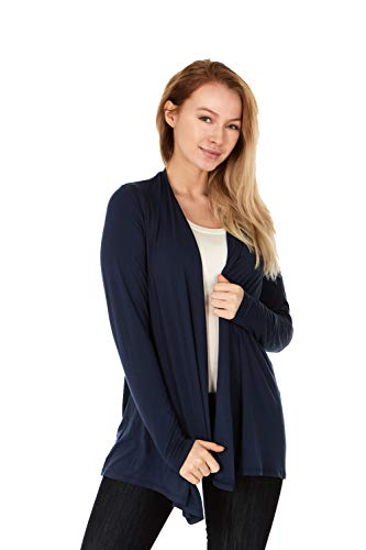 X America Long Sleeve Knit Open Front Cardigans for Women, Junior and Plus Size (XXL, Navy)