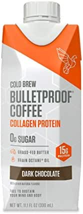 Bulletproof Dark Chocolate Cold Brew Coffee Plus Collagen Protein Peptides, Keto Diet Friendly, Sugar Free, non-GMO, organic, with Brain Octane oil and Grass-fed Butter (12-Pack)