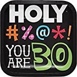 Club Pack of 96 Holy Beep! You Are 30 Square Lunch Paper Party Plates 7''