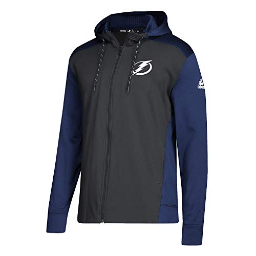 adidas NHL Mens 2018 Fleece Full Zip Pullover (X-Large, Tampa Bay Lightning)