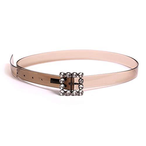 Boucle Femelle Métallique De Femme Cuir Transparente boucle Longueur ceinture Alliage La Ceinture 98 En Cm Sertie B Mince Ceinture Diamants Dengdai X6wxqP0