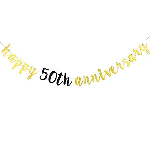 Gold Glitter Happy 50th Anniversary Banner - for 50th Wedding Anniversary / 50th Anniversary Party / 50th Birthday Party Decorations ()