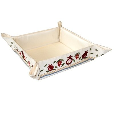 Matzah Plate - Tray - Box - Holder For Passover Bread - Yair Emanuel EMBROIDERED FOLDING BASKET POMEGRANATES (Bundle) by Yair Emanuel