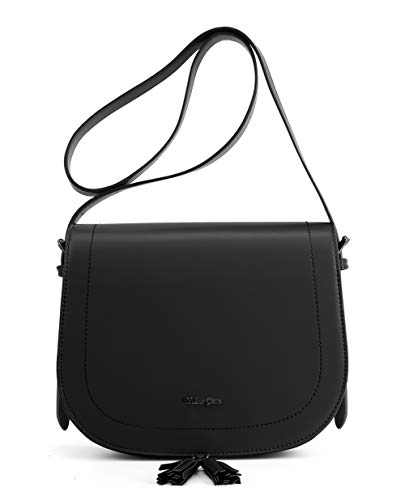 Miss CeCe Women's Saddle Bag Purses Crossbody Shoulder Bag with Flap Top & Tassel (Black)