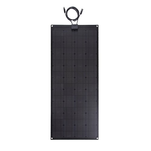 Lensun 100W 12V Black Fiberglass Semi-Flexible Monocrystalline Solar Panel for 12V Charge Battery on Boats, Caravans, Motorhomes, Yachts, RVs by Lensun