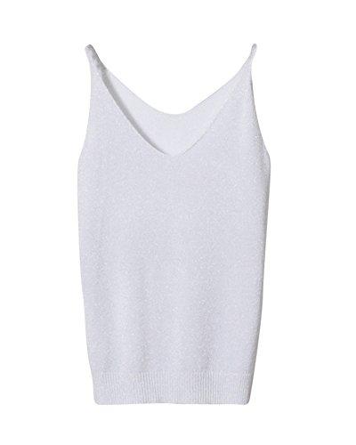 Femme Blanc Manches Sans Tricots Gilet Vest Waistcoat Sweat Neck Costumes V PengGeng 6Oqw7qC