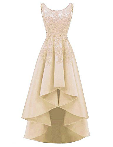 - HelloLadyBridal Women's Hi-Lo Lace Appliques Prom Dresses Satin Evening Party Gowns Champagne 22