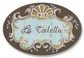 Plaque La Wall Toilette - La Toilette Brown Crest Top Oval Wall Plaque Sign