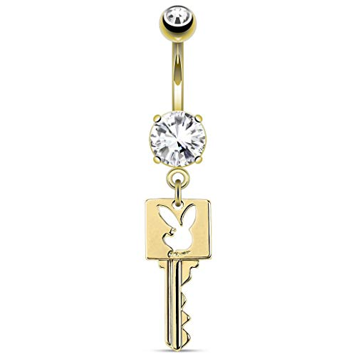 Inspiration Dezigns Key with Playboy Bunny Die-Cut Dangle 14kt Gold Plated Navel Ring ()