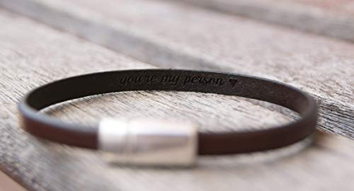 (1 Thin Leather Bracelet Hidden Message Personalized)
