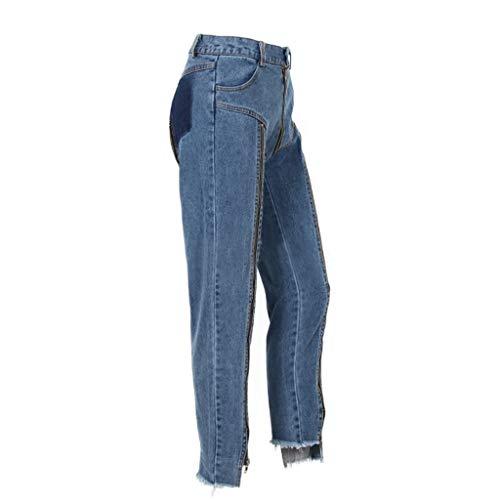 Cintura Caderas Nueve Alta zip Jeans Rectos Puntos Mujeres Azul color Y L De Primavera Pantalones Tamaño Multi Azul Rxf Verano wqfCAn