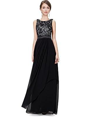 ZAFUL Elegant Lace Sleeveless Chiffon Evening Dress V-Back Party Wedding Bridesmaid Maxi Long Dress