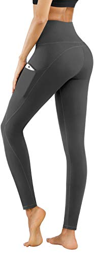 PHISOCKAT Women's High Waist Yoga Pants with Pockets, Leggings with Pockets, Tummy Control Workout Yoga Leggings