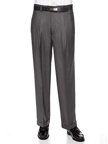 - GIOVANNI UOMO Mens Pleated Front Pin Striped Dress Pants 44LongGrey