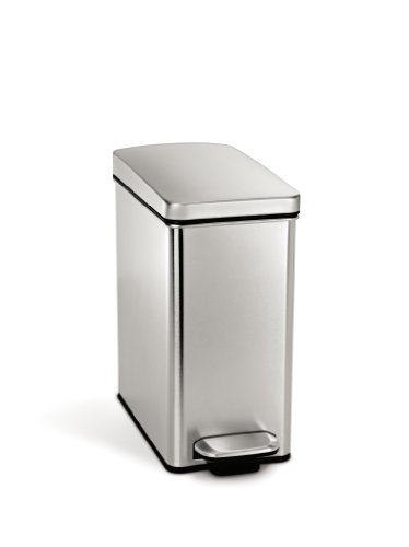 simplehuman Profile Step Trash Can, Stainless Steel, 10 L /