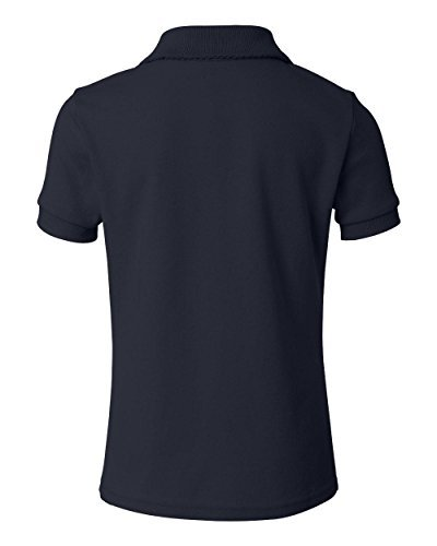 French Toast Little Girls' Short Sleeve Interlock Polo With Picot Collar, Navy, 4