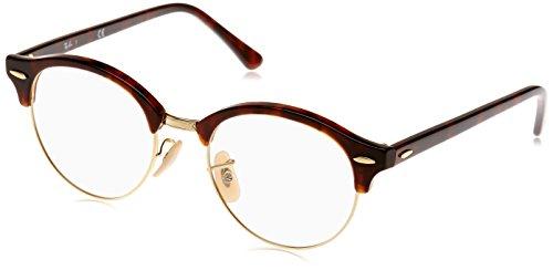 Ray-Ban RX4246V Clubround Eyeglass Frames, Red Tortoise/Demo Lens, 49 ()