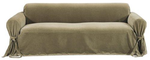 Classic Slipcovers Solid Velvet Sofa Slipcover, Olive