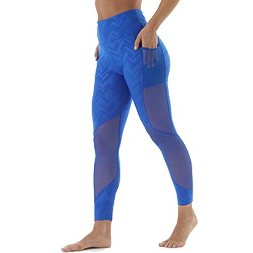 Guely Ray High Waist Tummy Control Yoga Pants Mesh Pocket Leggings S Blue 1