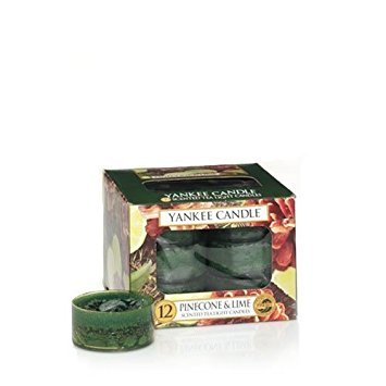 Pine Cone Tea Light - Yankee Candle Pinecone & Lime Tea Light Candles, Festive Scent