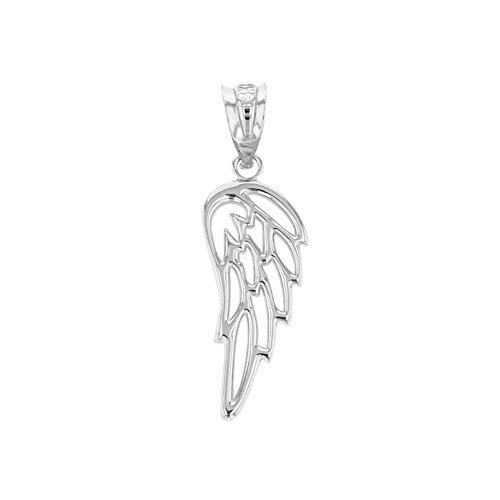 Fine 10k White Gold Guardian Angel Filigree Wing Charm Pendant