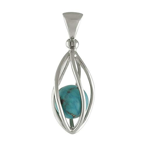 Sterling Silver Pendant with North American Turquoise - Blue Pendant Sky Natural Turquoise
