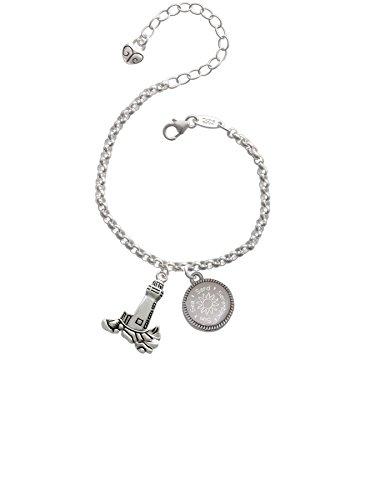 Serenity Lighthouse - Antiqued Lighthouse Sun Sea Sand Serenity Engraved Bracelet