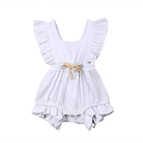 Infant Newborn Baby Girl Romper Ruffle Bowknot Bodysuit Jumpsuit Outfit Clothes Summer White/0-6M - Piece Outfit One Infant Girls