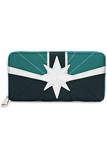 Loungefly x Captain Marvel Green Suit Zip-Around Wallet (Green, One Size)