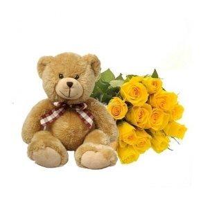 Ramo factoríaflor+ peluche, 12 Rosas amarillas, osito floro y nota personalizada gratis, envio